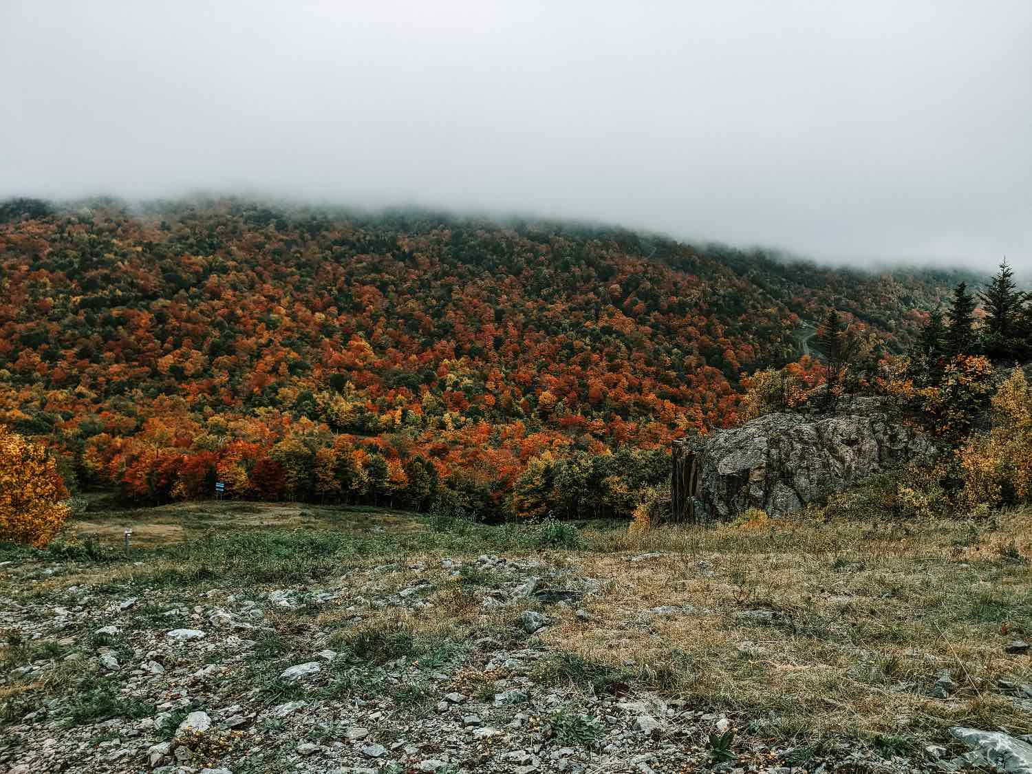 Orford mountain with fall colors